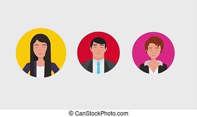 teamwork people animation hd - businessmen and businesswomen...