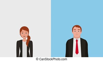 teamwork people animation hd - businesswoman and businessman...