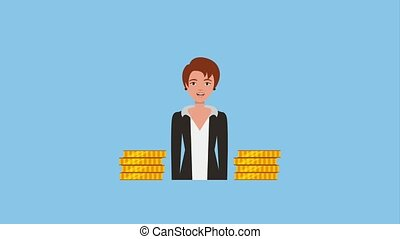 teamwork people animation hd - businesswoman stacked coins...