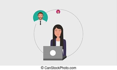 teamwork people animation hd - businesswoman with laptop...