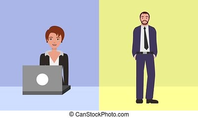teamwork people animation hd - businesswoman working laptop...