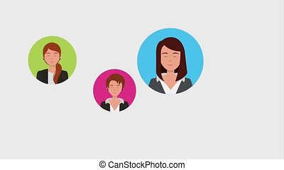 teamwork people animation hd - hand clicking business women...