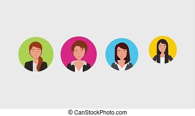 teamwork people animation hd - hand selecting business woman...