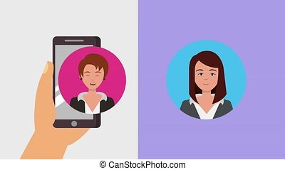 teamwork people animation hd - hand with smartphone...