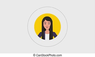 teamwork people animation hd - round portrait business woman...