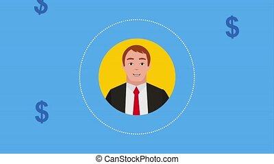 teamwork people animation hd - round portrait businessman...