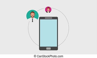 teamwork people animation hd - smartphone and business...