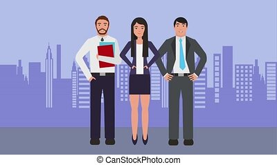 teamwork people animation hd - teamwork businesspeople group...