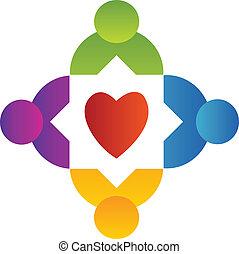 Teamwork people around heart logo