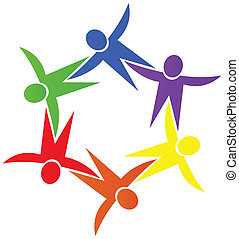 Teamwork people around logo