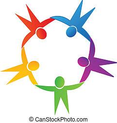 Teamwork people around logo