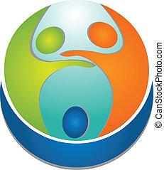 Teamwork people around world logo