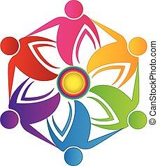 Teamwork people flower shape logo - Teamwork people union...