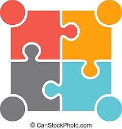 Teamwork People Four Puzzle Persons. Vector Design