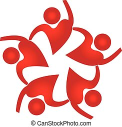 Teamwork people heart shape logo