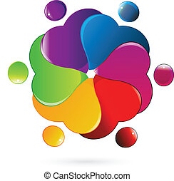 Teamwork people hearts vector logo