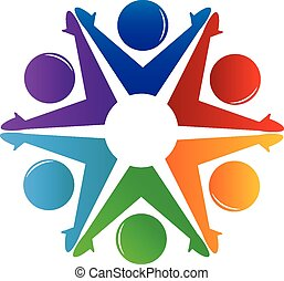 Teamwork people holding hands logo