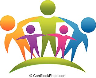 Teamwork people hugging family logo - Teamwork people...