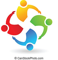 Teamwork people hugging logo