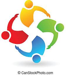 Teamwork people hugging logo