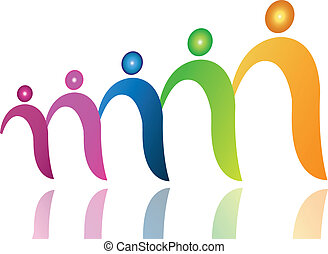 Teamwork people in file logo vector