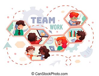 Teamwork, people in honeycombs working, successful work, vector illustration at white background