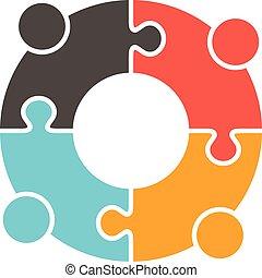Teamwork People puzzle pieces. Vector graphic design illustration