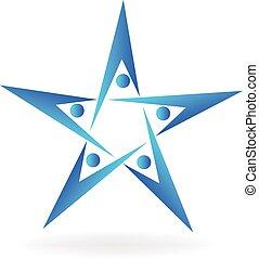 Teamwork people star logo