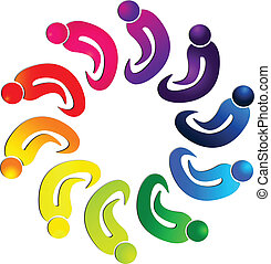 Teamwork people union group logo