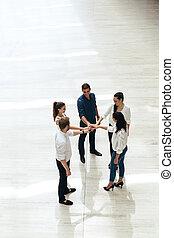 teamwork., persone affari, accomunato, hands., unione