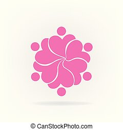 Teamwork pink flower logo