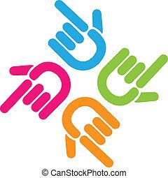 Teamwork pointer finger hand button vector icon logo