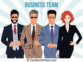teamwork, pojęcie, projektować, handlowy zaprzęg