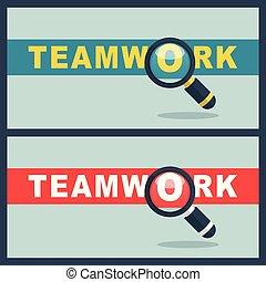 teamwork, pojęcie, słowo, szkło powiększające