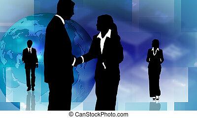 teamwork, pokaz, grupa, handlowy zaludniają