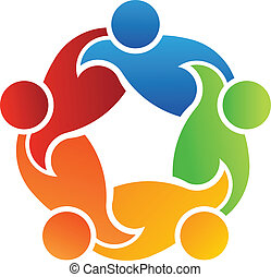 teamwork, poparcie, 5, logo