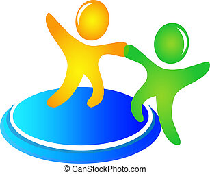teamwork, porcja, logo, wektor