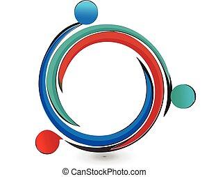 teamwork, portion, folk, logo