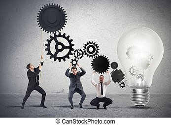 teamwork, powering, na, idea