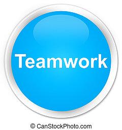 Teamwork premium cyan blue round button