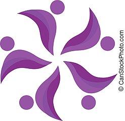 Teamwork purple people logo