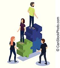 teamwork, puzzelstukjes, groep, mensen
