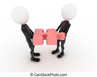 teamwork., puzzle., businessmen , 3d