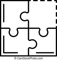 Teamwork puzzle icon, outline style