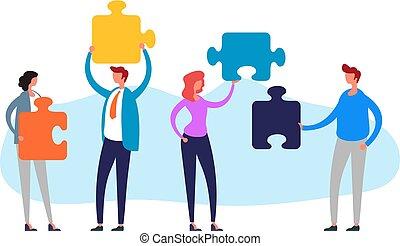 Teamwork puzzle management concept. Vector flat cartoon graphic design illustration