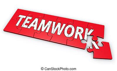 Teamwork Puzzle Sign Concept