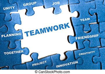 Teamwork blue puzzle pieces assembled