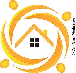 Teamwork real estate logo