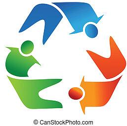 Teamwork recycling logo