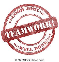 Teamwork, Red Grunge Seal Stamp